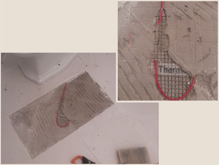 Ремнт теплого электрического пола в санузле из-за повреждений, вследствие плиточных работ